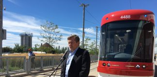11:45 a.m. August 10, 2018. Mayor John Tory answers questions from media outside the Leslie Barns about the size of council.