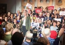 7:32 p.m., Aug. 23, 2018. Former chief planner and mayoral candidate, Jennifer Keesmaat, at her campaign launch this past Thursday night.
