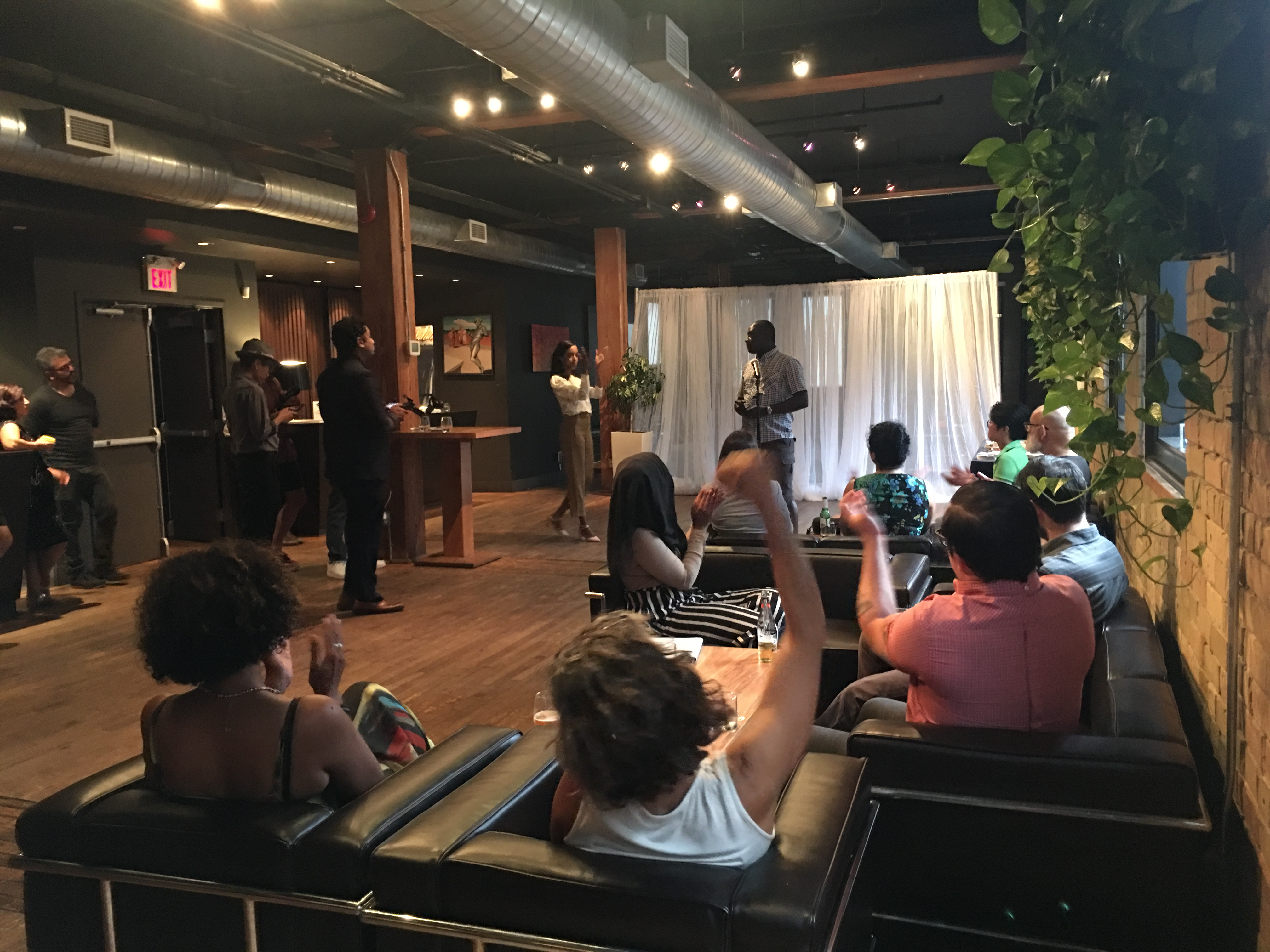 7:22 p.m. Aug. 29, 2018. City councillor candidate and challenger to Bill 5 Rocco Achampong speaking at a fundraiser for Saron Gebresellasi at The Spoke Club this past week.