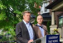 9:20 a.m., Sept. 6, 2018. Mayor John Tory and TTC Chair Josh Colle speaking near St. Clair Avenue and Bathurst Street on Thursday.