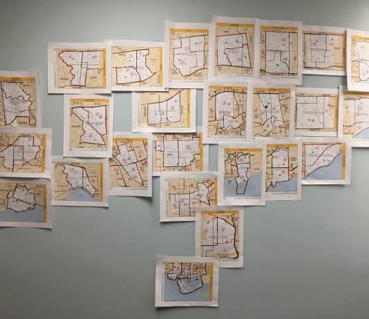 12:10 p.m. Sept 19, 2018. A collage of maps of the city's 25 new wards (with outlines of the old wards).