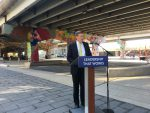 10:05 a.m. Sept. 21, 2018. Mayor John Tory speaking to members of the media about his commitment to the arts at Underpass Park, which was the location of a breakdance battle last summer. (View the photo-story from Aug. 2017)