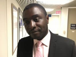 10:55 a.m. Sept. 23, 2018. Rocco Achampong at Toronto City Hall after withdrawing his nomination to run for city council candidate.