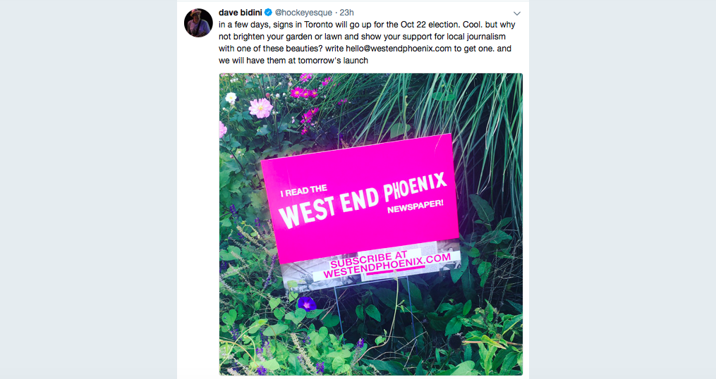 Screenshot of @hockeyesque's tweet with a picture of a sign to support the West End Phoenix.