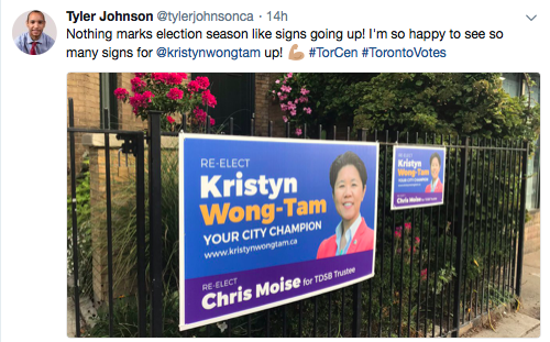 Screenshot of @tylerjohnsonca's tweet with a picture of signs for Kristyn Wong-Tam.