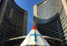 4:22 p.m. Oct. 9, 2018. A teepee sits above a platform on the roof of Toronto City Hall on Tuesday, the first day of the three-day Indian Residential School Survivors (IRSS) Legacy Celebration in Toronto.