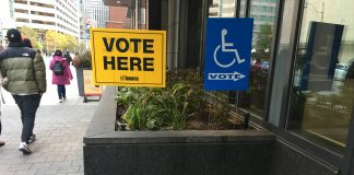 5:22 p.m. Oct. 22, 2018. 'Vote here' signs outside a condo building on Bay St.