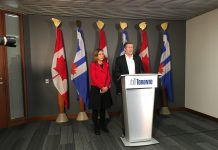 12:31 p.m. Oct. 28, 2018. Mayor John Tory speaks to media alongside Ana Bailão, re-elected councillor for Davenport. Bailão was one of three symbolic deputy mayors last term.