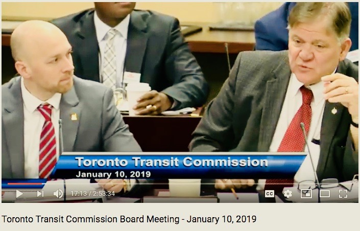 Jan. 10, 2019. At the TTC board meeting, Councillor Brad Bradford and Councillor Jim Karygiannis say why they're eager to be commissioners for the first part of this term. (screenshot)