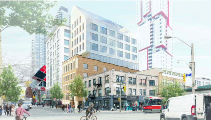 """The drawing in the development proposal for the six-storey addition at Queen and John includes a slanted roof on a structure described as a """"distinct landmark."""""""