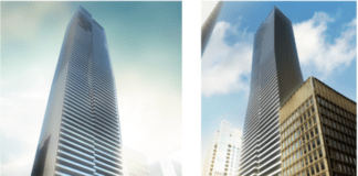 The drawing in the rezoning proposal for the 66-storey development at Bay and Bloor.