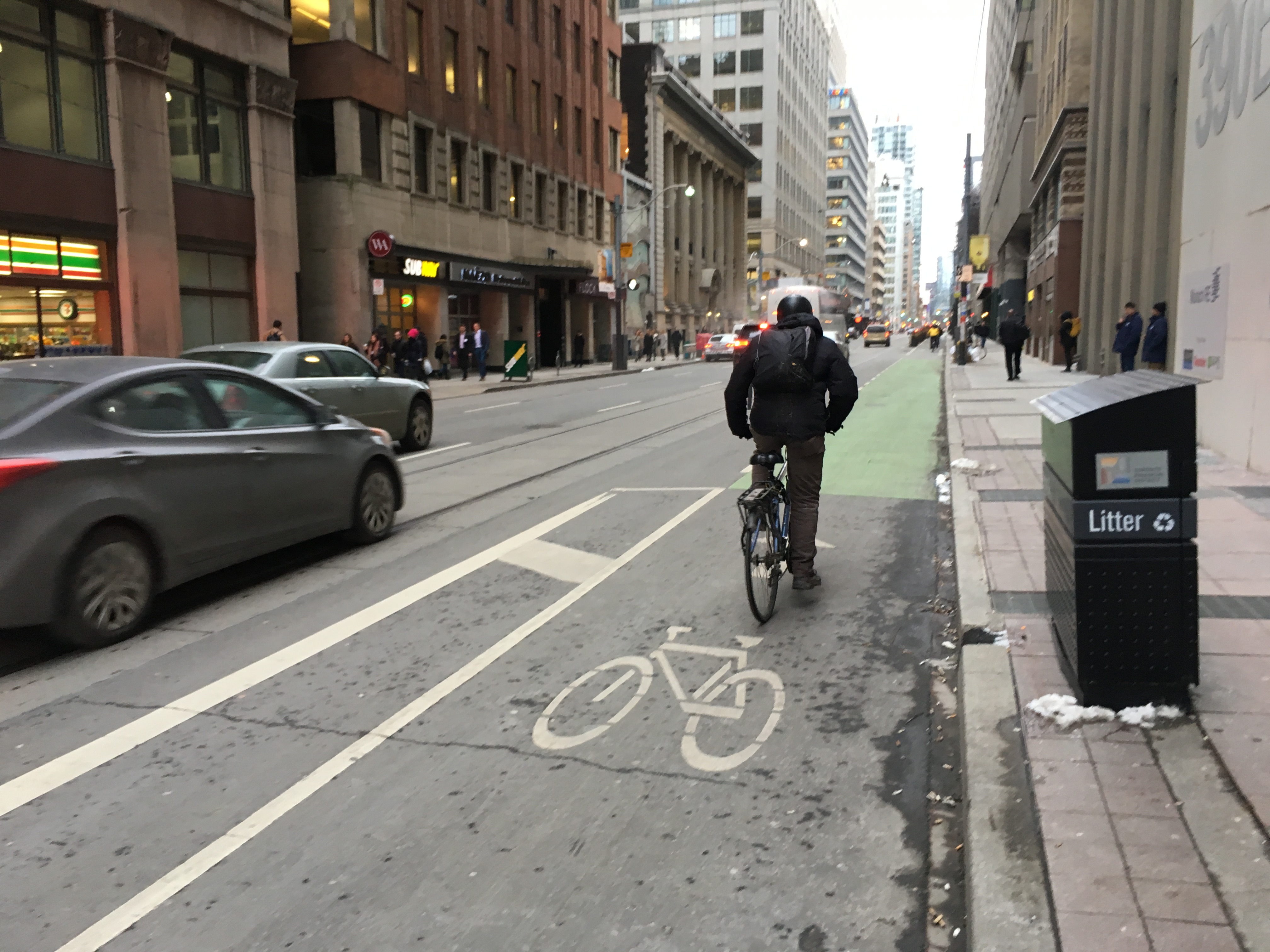 4:19 p.m. Jan. 18, 2019. Bike lanes on Adelaide Street and Richmond Street became permanent this week.
